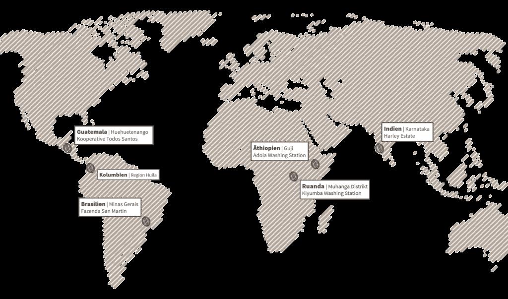 Weltkarte mit den genauen Standorten der Kaffeefarmen